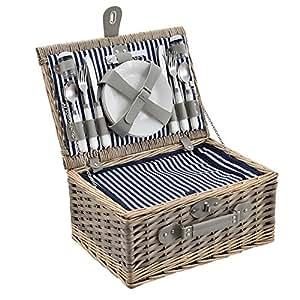 [casa.pro] Cesta de pícnic para 4 personas - set de pícnic con nevera, incluye platos, cubiertos, sacacorchos y vasos (blanca/azul)