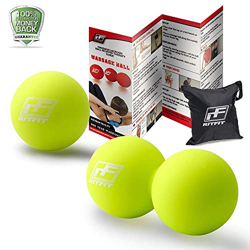 RitFit Peanut Massage Lacrosse Ball for Myofascial Release, Trigger Point Therapy, Muscle Knots, and Yoga Therapy. Bonus Single Massage Ball (Fluorescent Green/Fluorescent Green)