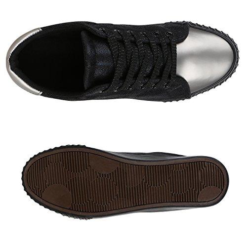 4773b5c6ce59 ... Stiefelparadies Glitzer Damen Sneakers Sneaker Low Metallic Schnürer  Denim Flats Turnschuhe Sportschuhe Flandell Schwarz Silber Grau