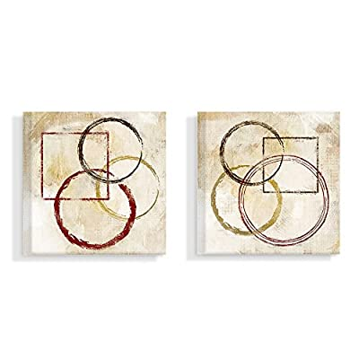 Stupell Industries Brown Tan and Red Circles and Squares Paint Strokes and Marks Canvas Wall Art, 2pc Each 17 x 17, Multi-Color