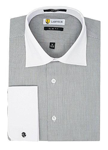 Labiyeur Slim Fit Spread Collar French Cuff Men's Cotton Dress Shirt 14.5 | 33-34 Grid-Checked Black/White