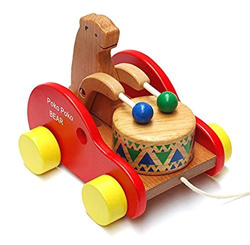 Max Hero Bear Knock The Drum Wooden Push And Pull Toys For
