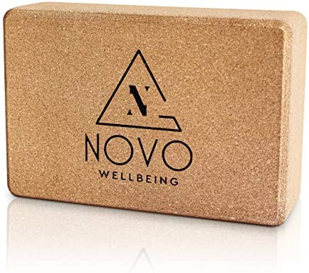 """NOVO Wellbeing Cork Yoga Block for Stretching and Exercise prime Density yogablocks for Stability eco Friendly Natural Non Slip 9""""x6""""x3"""""""