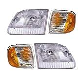 4 Piece Headlight & Corner Light Set - Fits 97-03 Ford Pickups F150 F250