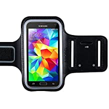 Sportband for Samsung S4 S5 S6 S6 Edge S7 A3 Series 5.0 inch Black Armband Sweat Proof Soft Neoprene Stretchable Velcro Strap Reflective StripDual Arm Slots MMOBIEL