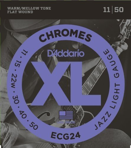 D'Addario ECG24x5 , XL Chromes Flat Wnd, Jazz Light,