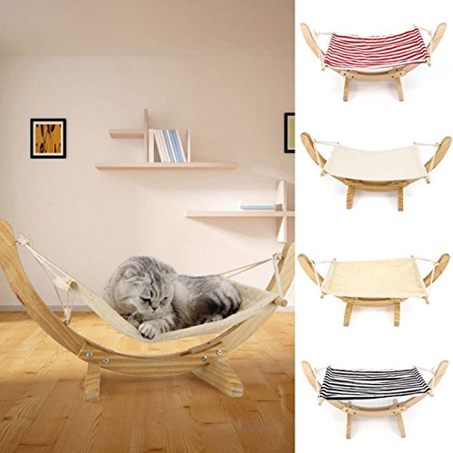 Dog Removal Man Costume (Hot Sale! Wooden Deluxe Pet Cat Hammock Swing Bed Comfy Nest Dog Hanging Cradle Furniture (Red+White, Hammock))