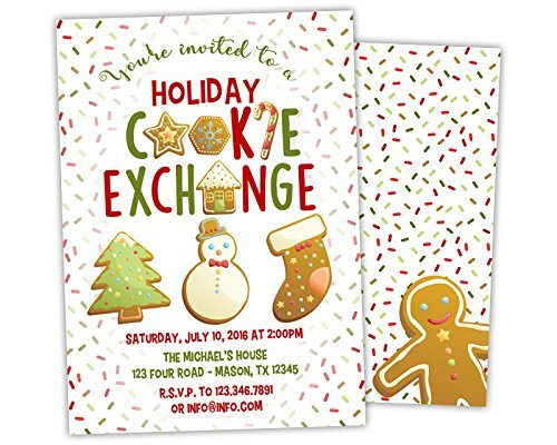 Amazon Com Holiday Cookie Exchange Invitations Gingerbread Cookie