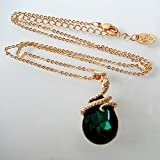 Navachi 18k Gold Plated Water Drop Crystal Green
