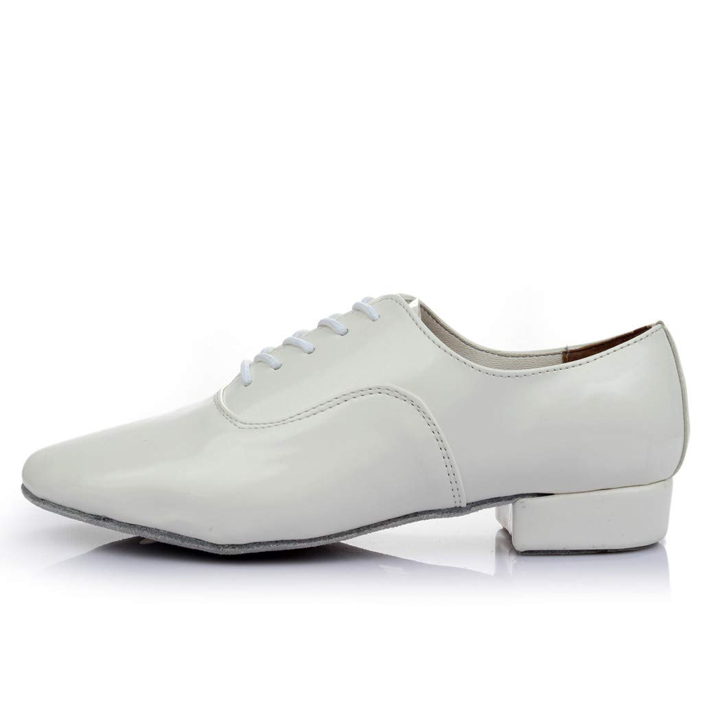 Men's Oxford Classic Lace-Up Round Toe Shoes Size 7-10,Mens Black Leather Latin Salsa Ballroom Modern Dance Business Shoes (White, US:7.5)