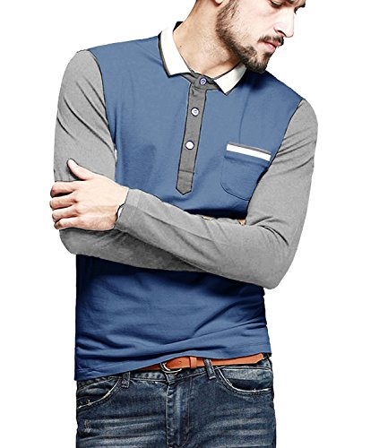 Cotton Long Sleeve Polo T-shirt (Coofandy Men's Long Sleeve Slim Fit Casual Polo Shirt Fashion T shirt,Large,Blue)