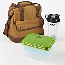 Fit & Fresh Men's Douglas Lunch Bag Kit with Lunch on the Go and Jaxx Shaker Cup (Brown)