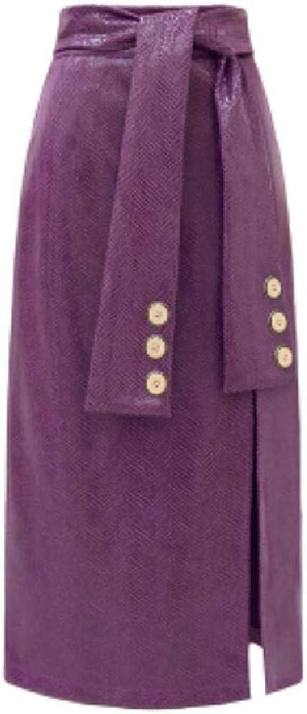 NObrand Primavera otoño Moda Dividida PU Cuero Falda Mujeres Cintura Alta Paquete Cadera Falda lápiz