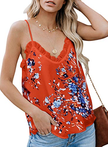 (BLENCOT Women's Fashion Floral Ruffle V Neck Sleeveless Shirts Spaghetti Strap Flowy Cami Tank Tops Blouses Orange M)