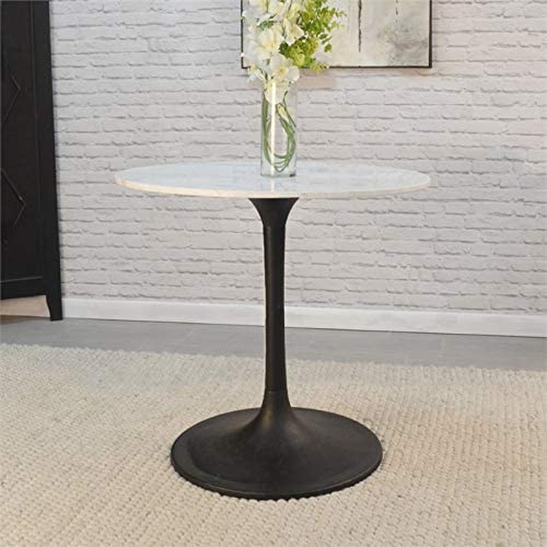 Carolina Classic Enzo 30 Round Marble Top Dining Table White Top Black Base