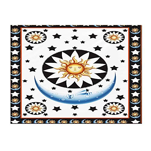 SATVSHOP Small mural-16Lx16W-Sun and Moon Cr Cent Calendar Stars and Horoscop Sun Brown Blue Yellow Black White.Self-Adhesive backplane/Detachable Modern Decorative Art.