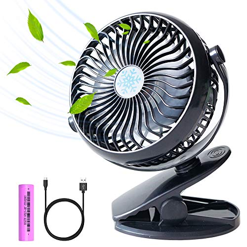 Stroller Fan,Clip on Fan with 2600mAh Rechargeable Battery and USB Cable,Black Color