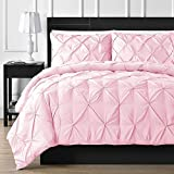 Is a California King Bigger Than a King Linen Mercado Premium Quality Bedding Collection!Ultra-Soft Luxurious 1-Pc Pinch Pleated Pintuck Decorative Duvet Cover, Egyptian Cotton,800 TC Comforter Cover (Queen, Pink)