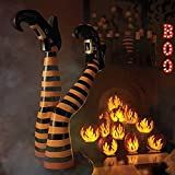 Boo Boutique 2pc Staked Crash Landed Orange Black Striped Upside Down Witch Legs Outdoor Halloween Decoration Prop Boutique Holiday Decoration