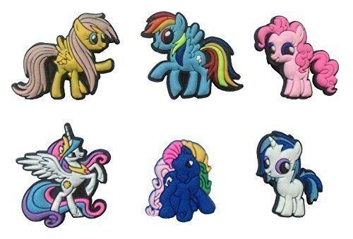 [Little Pony Shoe Charms 6 Pcs Set #1 by Atlantis USA] (Disney Tinker Bell Kids Sparkle Shoes)