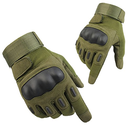 Tactical Gloves, Fuyuanda Men`s Full Finger Hard Knuckle Protective Gear Gloves for Motorcycle Shooting Riding Cycling Biking Paintball Racing Olive Large ()