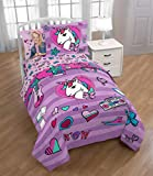 Nickelodeon JoJo Siwa 5pc Twin Bedding Collection with Comforter, Sheet Set (Fitted and Flat Sheets), Sham and Pillowcase, Purple and Pink
