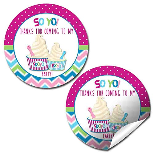 Froyo Frozen Yogurt Ice Cream Birthday Party Thank You Sticker Labels for Girls, 20 2