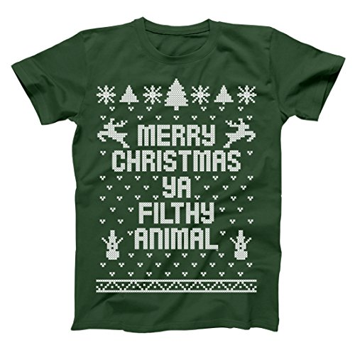 Merry Christmas Ya Filthy Animal Ugly Christmas Sweater Contest Party Xmas Mens Shirt Small Forest Green