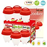 Egg Cooker-Silicone Egg Poachers for hard boiled eggs,Egg Cups AS...