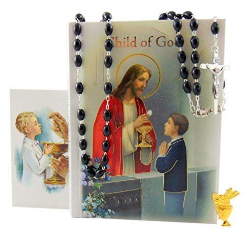 (Westman Works First Communion Set for Boys Prayer Missal in a Plastic Cover with Rosary Holy Card and Scapular)