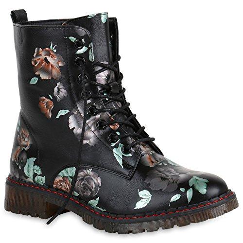 Stiefelparadies Damen Worker Boots Gefütterte Stiefeletten Leder-Optik  Schuhe Flandell Schwarz Orange Metallic 0b1f24b8b1