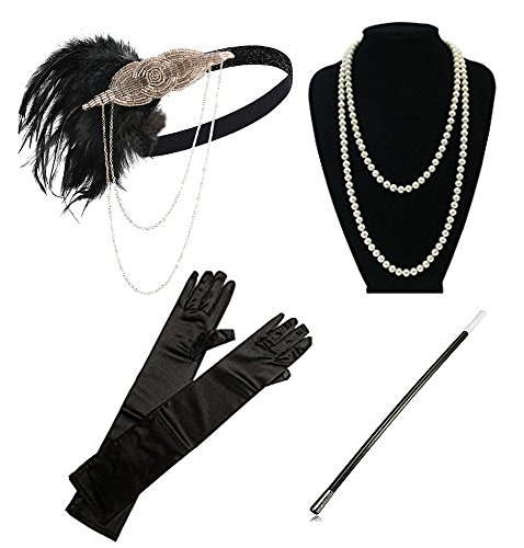 (1920s Flapper Gatsby Costume Accessories Set 20s Flapper Headband Pearl Necklace Gloves Cigarette Holder(A-Champagne and Black)