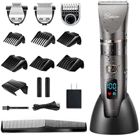 Hatteker Mens Beard Trimmer Cordless Hair Trimmer Hair Clipper Detail Trimmer 3 In 1 for Men Hair Cutting Kit Men's Grooming Kit Waterproof