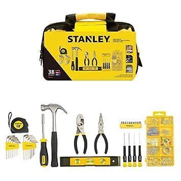 STANLEY STMT0-74101 - Juego de herramientas 38 piezas, incluye martillo, alicates, flexómetro y destornillador: Amazon.es: Bricolaje y herramientas