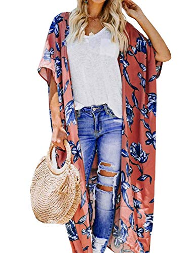(Women's Beach Kimono Jacket Sheer Cardigan Wide Bell Sleeve Sheer Open Floral Shirt Wrap Top (Orange-Red,)