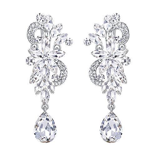 BriLove Wedding Bridal Clip On Earrings for Women Bohemian Boho Crystal Flower Chandelier Teardrop Bling Long Dangle Earrings Clear Silver-Tone