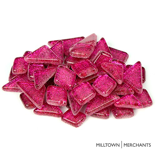 Milltown Merchants™ Hot Pink Glitter Mosaic Tile Pieces – Bulk Sparkle Mosaic Tiles – 3 Pound (48 oz) Shimmer Tile Assortment For Backsplash, Murals, Stepping Stones, and Mosaics