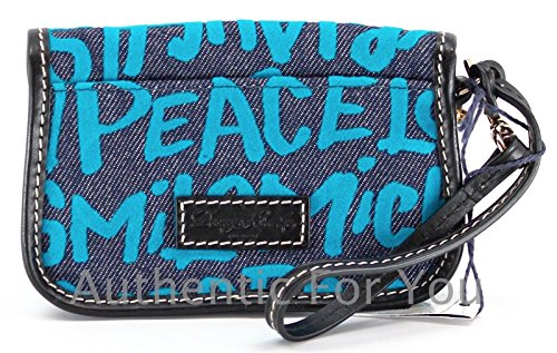 Disney Dooney & Bourke Blue Denim Wristlet - Mickey Minnie Peace Love Laugh Smile