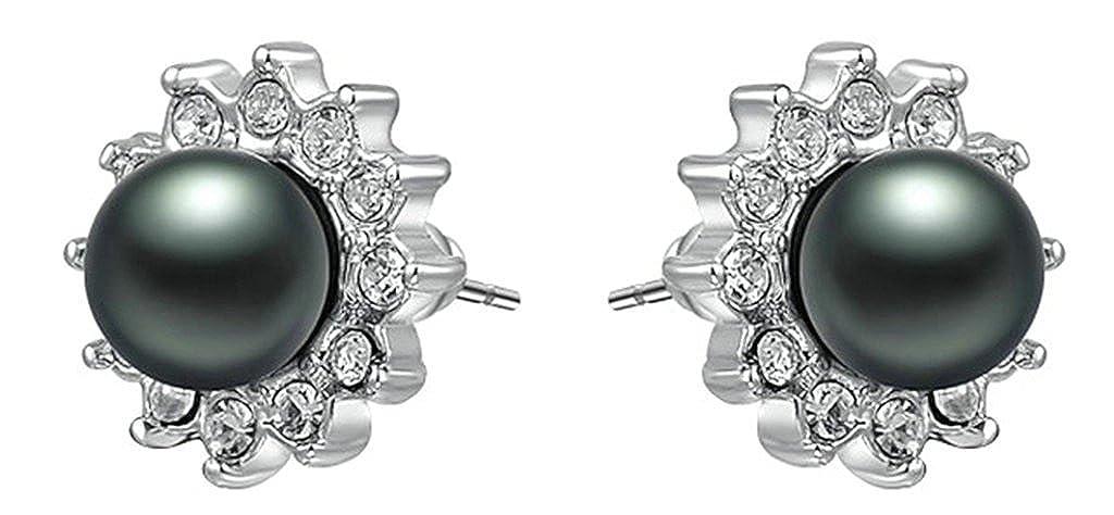 Daesar Gold Plated Earrings Stud Womens Cz Earrings Black Pearl Earring Earring White Gold 1.2X1.2CM