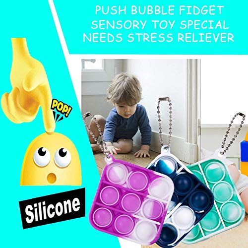 Pop Fidget Its Toys blue Suitable for Autism Patients Who Need to Relieve Stress Pop Bubble Sensory Popping Toy Game Silicone Tie dye Hand Push Bubble Gadget Toy Stress Squeeze Dimple Toys
