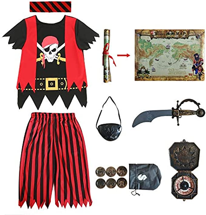 Kids Pirate Costume,Pirate Role Play Dress Up Set