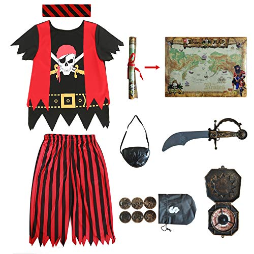 Kids Pirate Costume,Pirate Role Play Dress Up Completed Set 8pcs for Boys Size 3-4,5-6,7-8,8-10 (5-6years) Red/Black