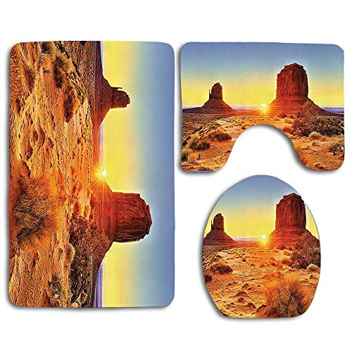 - EnmindonglJHO Monument Valley Tribal Park with Sunset and Big Carved Stone Indian Lands Print 3pcs Set Rugs Skidproof Toilet Seat Cover Bath Mat Lid Cover Cushions Pads