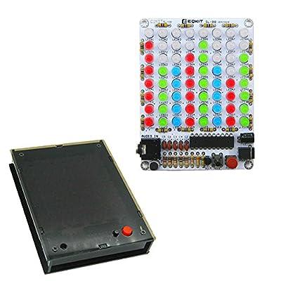 Icstation 8X8 Color LED Sound Audio Spectrum Analyzer Level Indicator Kit with Case DIY Electoronics Soldering Practice Set