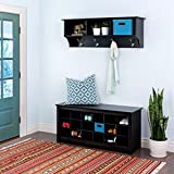 Small Entryway Wall Shelf with Cubbies, Black Wall Mount Hanging Organizer Shelf with Hooks & E-Book