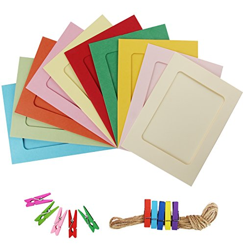Yilove 4x6 Paper Picture Frames, DIY Cardboard Photo Frame with Clips and String, 10 Colors Christmas Vacation Clip