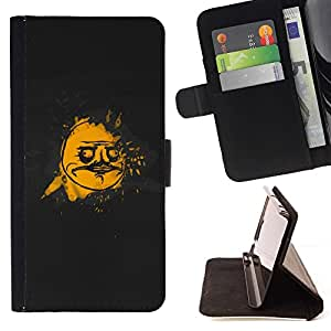 DEVIL CASE - FOR Samsung Galaxy S6 EDGE - cool funny troll face meme black gold gusto - Style PU Leather Case Wallet Flip Stand Flap Closure Cover