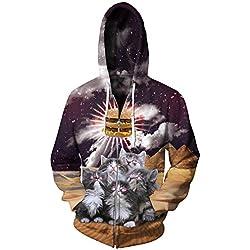 Men Cat Hamburger 3D Print Long Sleeve Zip Up Sweatshirt Hoodies Jacket XXL/XXXL