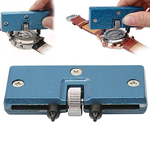 Watch Adjustable Back Case Opener Closer Remover Repair Watchmaker Holder Tool Blue