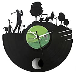 Golf Clock Gift idea Gift golf player wall clock with pendulum Vinyl clock golf clucb gift black color Vinyluse original Made in Italy
